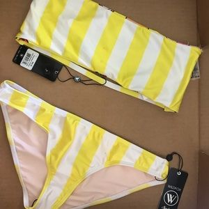 Wildfox Yellow Stripe Bandeau Bikini Set Large